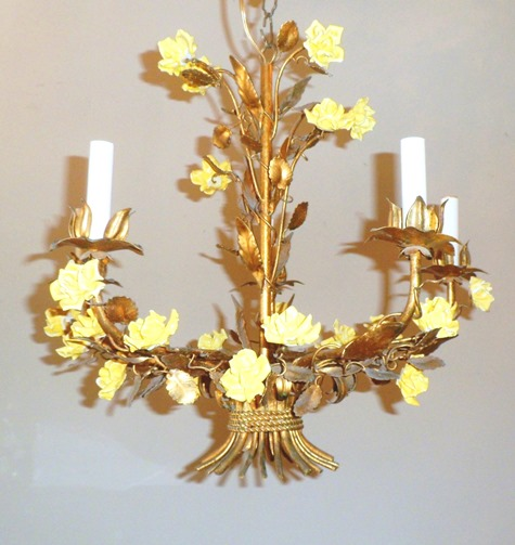 Gold Leaf Tole Vintage Light