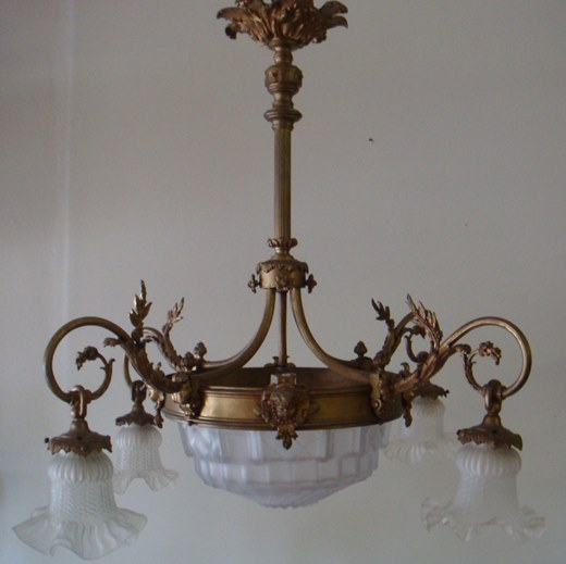 Antique Bronze Frosted Glass Chandelier
